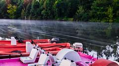 Speeding (JMurphyphotography) Tags: water river contrast boat pedalo autumn germany halle hallesaale peissnitz park foam longexposure 2017 green red pink white blue yellow nisi nisifilter 6stop nikon 2470mm nikond610 d610 nature