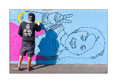 Street Art (Stinkfish), East London, England. (Joseph O'Malley64) Tags: stinkfish colombia bsmtspace bsmtspacegallery streetartist streetart urbanart publicart freeart graffiti northlondon london england uk britain british greatbritain art artist artistry artwork gallery exhibition mural muralist wallmural wall walls render tarmac urban urbanlandscape workingportrait workinprogress aerosol cans spray paint freehand fujix x100t accuracyprecision