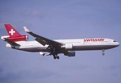 129bg - Swissair MD-11; HB-IWE@ZRH;28.04.2001 (Aero Icarus) Tags: zrh zürichkloten zürichflughafen zürichairport slidescan plane avion aircraft