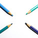 Color pencils pointing center