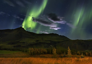 Northern lights and the rising of the moon
