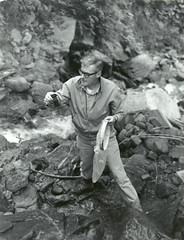1969. Water quality monitoring during a controlled field test of stabilized pyrethrins against the western hemlock looper. Mt. Baker National Forest, near Marblemount, Washington. (USDA Forest Service) Tags: usda usfs forestservice foresthealthprotection stateandprivateforestry divisionoftimbermanagement insectanddiseasecontrol aerialspray test pyrethrin insecticide westernhemlocklooper looper hemlock mtbakernationalforest washington 1969 stabilizedpyrethrins waterquality monitoring fieldtest spray bobdewitz rdewitz marblemount stream fish aquaticinsects