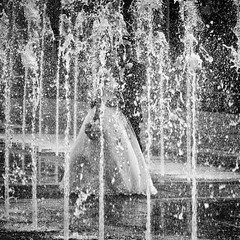 Wedding Couple in Fountain (Mister Day) Tags: wedding street water