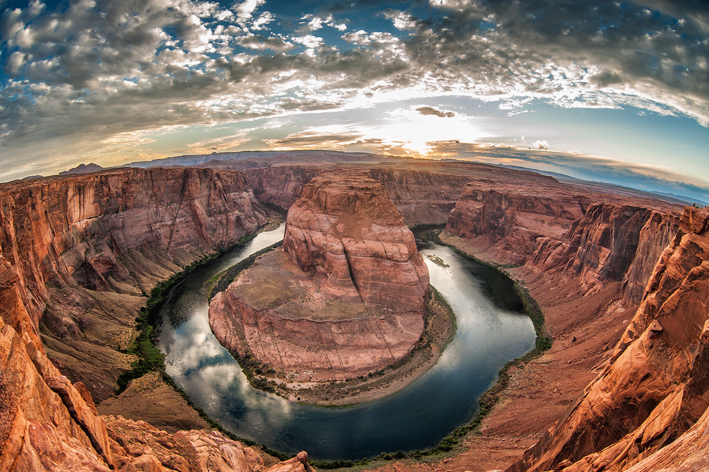 The curve of the Colorado River at Horseshoe Bend in Page, Arizona.