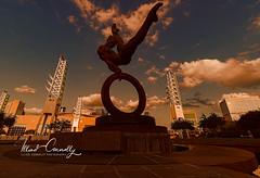 The Ring (4 Pete Seek) Tags: atlanta atlantageorgia atl atlantaurbanphotowalkers downtown downtownatlanta statue georgiaworldcongresscenter sunset atlsunset