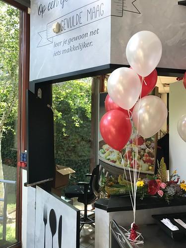 Tafeldecoratie 6ballonnen Hoge School Rotterdam