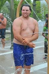 Chubby men showering