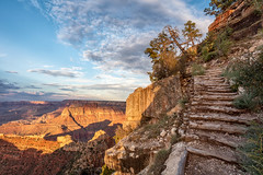 Climbing Out at Sunset (Kirk Lougheed) Tags: arizona coloradoplateau grandcanyon grandcanyonnationalpark grandview grandviewpoint grandviewtrail southrim usa unitedstates landscape nationalpark outdoor path rim summer sunset trail