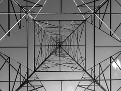 Structure (clarkcg photography) Tags: galvanized structure erection steel towers utilitylines electriclines blackwhite thursdayblackandwhite 7dwf