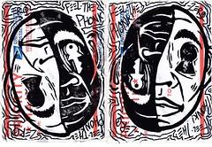 Perspective is Key prints (Phonkadelic!) Tags: linocut block print printing linoleum usps sticker slap phonk feel feelthephonk stickers perspective key inverse blackandwhite negatives portland pdx pnw