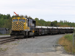 ONT 2105 EMD SD751 (Gerald (Wayne) Prout) Tags: ont2105emdsd751 diesellocomotive train gondolas concentrate kiddmetallurgicalsite glencore hoyle cityoftimmins northernontario northeastern ontario canada prout geraldwayneprout canon canonpowershotsx60hs photographed photography ontarionorthlandrailway on ont railway yard 2105 emdsd751 sd751 emd locomotive engine diesel dieselelectric hoyletownship