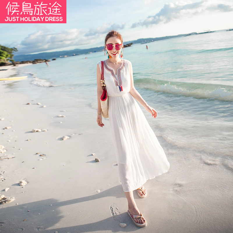 Big beach skirt, female summer 2017, new Bohemia dress, sexy seaside holiday, thin Thailand dress