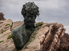 Philippe Cousteau monument (Alejandro Hernández Valbuena) Tags: asturias cliff cousteau monument philippe salinas spain background sea drop shore beautiful coast rocks abrupt water ocean summer statue holidays crag beach sky