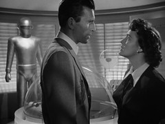 "Lock Martin (Gort), Michael Rennie, Patricia Neal, ""The Day the Earth Stood Still,"" 1951 (classic_film) Tags: thedaytheearthstoodstill film movie scifi sciencefiction 1950s 1951 fifties cine cinema old vintage clásico classic nostalgia nostalgic michaelrennie actor aktor akteur patricianeal actress actrice actriz schauspielerin aktrice woman brunette retro añejo hollywood usa unitedstates época entertainment ephemeral man beautiful beauty schön jahrgang alt oll película lockmartin"