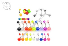 Multi Design Belly Bar (Planet Face Body Jewellery) Tags: low price cheap 99p afordable alternative alt planet face body jewellery online buy uk united kingdom england whales scotland neon colourful acrylic ball steel surgical glitter glow in the dark belly bar