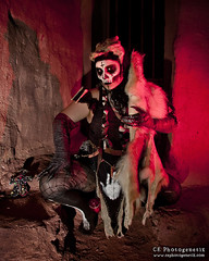 black magic pt2 05 (CE Photogenetix) Tags: approved blackmagic witch voodoo voodoopriestess evil dark horror death spooky scary darkart costume halloween portrait canon40d christinaedwards griffithpark red redlight lightpainting fur skull demon demonic monster villian skeleton gloves creepy