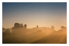 Summer Blues (Geoff Moore UK) Tags: fog mist sky sunshine light warmth haze foogy misty ruins castle old ancient hiistoric shropshire stone crumbling adventure hiking exploration newday dawn