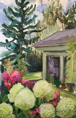 Eclipse Day WIP (Handwork Naturals) Tags: hydrangea flowers garden wildflowers wild gardening summer 2017 august green landscape painting oilpainting pleinairpainting edenscovillehart