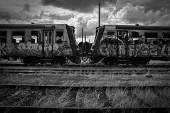 Fin de Vie III (fabien.nothias) Tags: trains sky abandonned abandonné urbex rails noiretblanc blackandwhite tags apocalypse lumières light train chemindefer monochrome