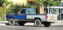 '80s Dodge 4X4 (Eyellgeteven) Tags: dodge mopar chrysler ram dodgeram pickup pickuptruck truck beater beatup jalopy junker rust rusty rusted rustyandcrusty 12ton 4x4 oddpanel blue black white dirty dirt mud muddy worktruck farmtruck fourwheeldrive 1980s 1990s powerram oxidized oxidation old vehicle classic vintage dented dents dent americanmade madeinusa eyellgeteven used ugly