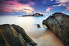 Sleeping Giant (Adly Wook) Tags: longexposure landscape light serene sky sunrise seascape stone sea seaside art asian awesome malaysia nature canon water natural travel trip texture tone terengganu interesting outdoor ocean oversea composition motion rock red reflection