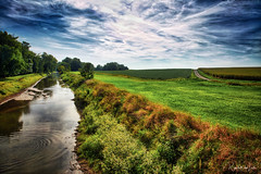 Two Ways West (myoldpostcards) Tags: rural country landscape creek lakefork stream saltcreek water clear reflection season summer countyroad 1000thavenue 1125thstreet logancounty centralillinois illinois il myoldpostcards randall randy vonliski canon eos 5dmarkiv