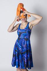 Day 3869 (evaxebra) Tags: wh wah octopus head orange blue purple blackmilk tentacles midi dress swirly curly