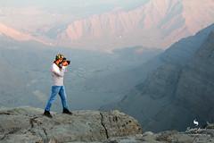 on the top Jabal Jais (hisalman) Tags: travel photographer mountains camera man person people standing hisalman rasalkhaimah jabaljais