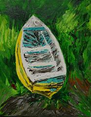 Kim's Yellow Boat (BKHagar *Kim*) Tags: bkhagar art artwork painting paint acrylic boat yellow impressionist