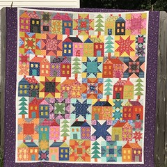 Beautiful Quilt! (Marcy Leigh) Tags: fmq quilting creative create craft comeonamyhouse missrosiesfarmhouse pattern trees star house brights outdoor fabric sew quilts quilt