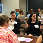 Alumna talking at the Professional Networking Symposium