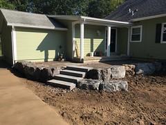 Steps are done. (deroller) Tags: landscaping hardscaping landscape rocks boulders dolomite limestone plantings lighting volt cumberland bay patio front yard remake