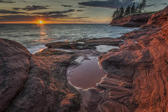 Seacow Head Sunset, PEI Canada (angie_1964) Tags: seacow head sunset pei canada sea water nature landscape sun cloud sky nikond800 rock red trees explore
