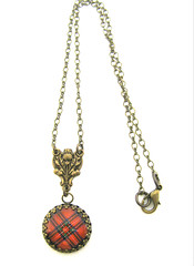 Ancient Romance Series - Scottish Tartans Collection - Royal Stewart Tartan 20mm Fob Necklace w/Vintage Rosary Thistle Bail