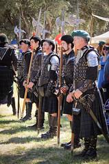 Scottish Halberdiers (GazerStudios) Tags: livinghistory black halberds weapons armor men kilts celtic boots costumes renaissance 15thcentury leather historicalreenactment berets crochet bracers candids groups 55300mm nikond90