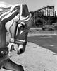 coney island horse (H Sampson) Tags: coneyisland nyc bnw blackandwhite noireblanc carouselhorse thunderbolt