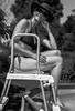 Contemplating a dip ! (TrevKerr) Tags: girl woman portrait monochrome nikon d3s sb900 blackandwhite hat sunglasses