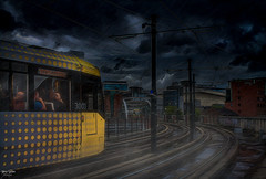 Storm Chasing (Kev Walker ¦ Back in October) Tags: architecture building canon1855mm citycentre england hdr lancashire manchester northwest outdoor storm rain trams transport castlefields postprocessing digitalart