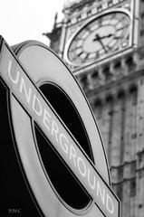 Classic London b&w (Rob McC) Tags: underground urban sign signage classic monochrome bw blackandwhite bigben clock clockface tower parliament housesofparliament london dof nikon d7000