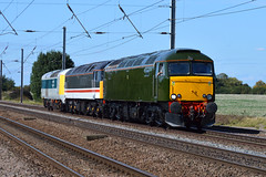57604 + 47828 + 41001 - Abbots Ripton - 27/08/17. (TRphotography04) Tags: gwr great western railways class 57 0z59 abbots ripton old oak common open day prototype hst convoy 47 intercity 41001 57604 47828 summer 41 cambridgeshire nikon d3200 transport east coast main line ecml thr railway photography train railroad 55200 mm high speed rails duff tree sky field repaint landscape tracks slow warm europe britain uk light locos