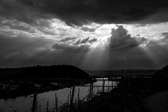 Mosel valley, clouds  and sunrays (AlphaAndi) Tags: mono monochrome urban trier dof wow river valley moselle sky himmel clouds landscape landschaft sony fullframe vollformat sunrays sonnonstrahlen