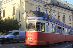 Tram in Old Town Krakow, Poland.