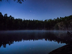Stars and mist (Jens Haggren) Tags: stars night sky lake reflections trees silhouettes nacka stockholm jenshaggren