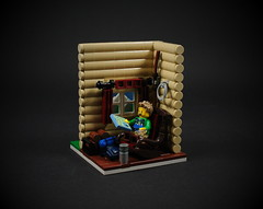 14 - Hiker (CeciΙie) Tags: lego moc vig vignette cmf collectible minifig hiker cabin lodge mountain rocking chair