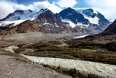 Rockies (1DesertRose) Tags: therockies therockymountains mountains glaciers river snow rocks bluesky clouds summer travelling alberta canada cold beautiful landscape