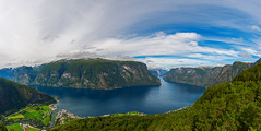 Aurlandsvangen (svetlana.koshchy) Tags: norway norge scandinavia landscape nature fiord mountains aurlandsfjorden aurland boat reflection panorama
