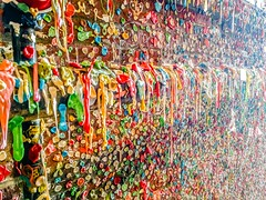 gum wall in seattle washington (DigiDreamGrafix.com) Tags: detail details post alley chewing gum chewinggum postalley bubblegum pikeplacemarket colours color colors colorful nobody view colored shapes market abstract texture colour colourful pattern candy wall portion multicolored built landmark famous bubble random graffiti wrapper coloured place layers sticky has washington disgusting pike stretched gross seattle usa us