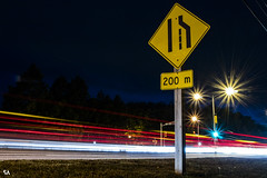 200 Meters (Stefen Acepcion) Tags: lighttrail light night sign yellow ontario amateur red road blue longexposure canada canon 80d grass cars