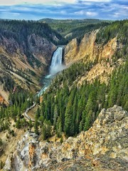 Lower Canyon Falls Yellowstone (Pejasar) Tags: lowercanyonfalls yellowstonenationalpark waterfall trees rock thomasmoranwannabe iphone6 landscape sky clouds