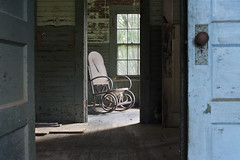 The Farmhouse (Sean M Richardson) Tags: abandoned abandonedamerica farmhouse chair chasinglight depth dof house home perspective light decay decayed detail details derelict ruins modernruins america american canon 50mm eos textures texture shadows contrast sunshine sunlight bright dark door doorway color colors colour colorful colours brown green blue red black white orange gold interior indoor indoors window ue urbex exploration peelingpaint paintchips rural memories forgotten unitedstates photoshop flickr adventure digital day daylight lines classic